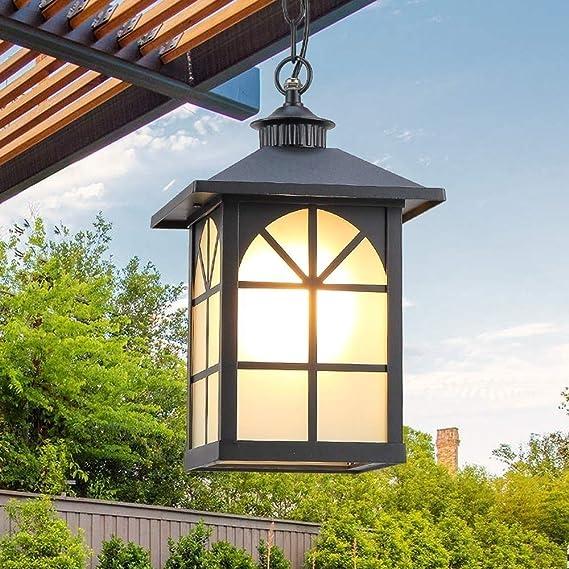 Memnk Luz colgante Lámpara de cristal tradicional antigua Lámpara colgante Luces de techo Impermeable Exterior Aluminio Metal Droplight for Villa Jardín Patio Pabellón Porche E27 Decoración Araña de l: Amazon.es: Hogar