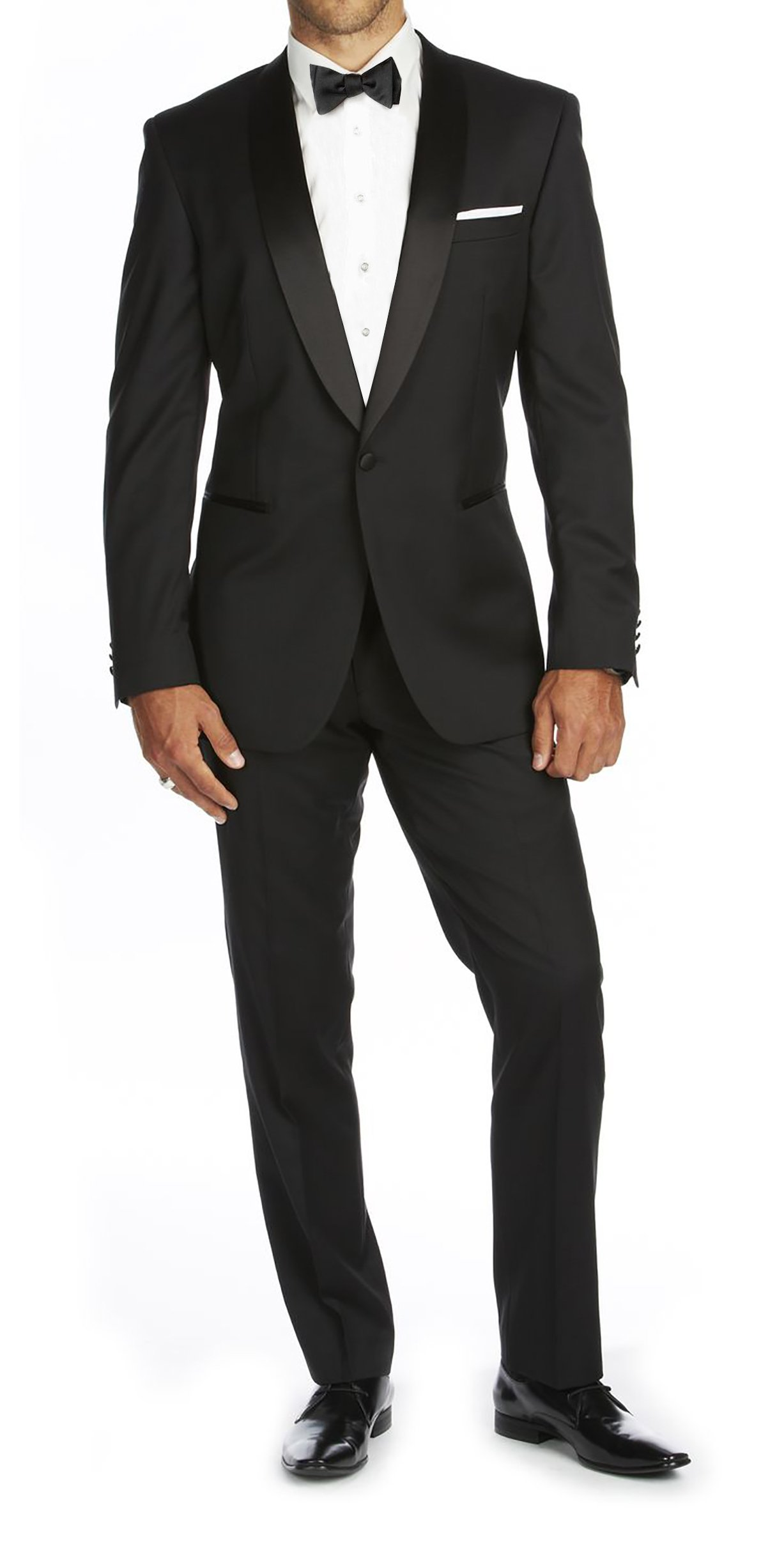 Braveman Mens Shawl Lapel Runway 2 Piece Tuxedo, Black, Size 34Sx28W by Braveman