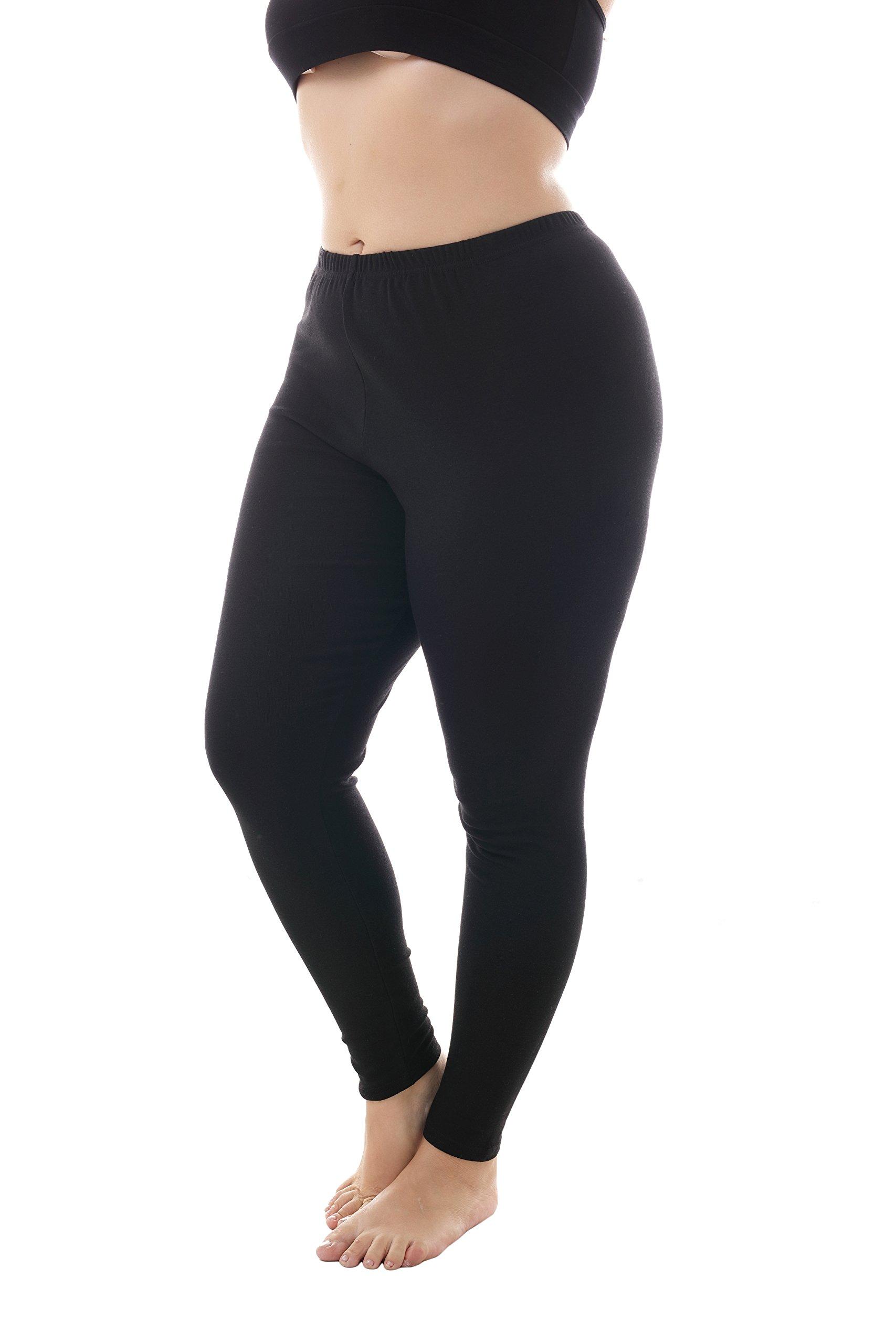 ZERDOCEAN Women's Plus Size Full Length Cotton Stetchy Leggings for Fall Black 4X