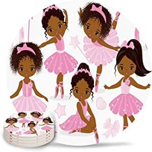 Set of 4 Coasters for Drinks, Absorbing Stone Cute Girl Ballerina Dancer Pink Ceramic Round Coaster with Cork Base No Holder, for Housewarming Coffee Kitchen Room Bar Decor (4 Inch)
