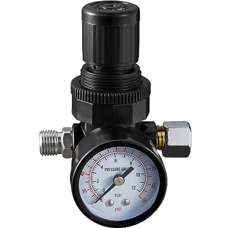 "TecTake Manómetro con regulador reductor de presión de aire 1/4"""