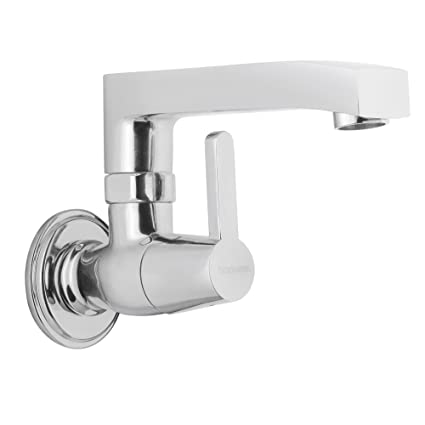 Hindware F390024CP Sink Cock with Swivel Casted Spout (Wall Mounted) (Barrel Neo) with Chrome Finish