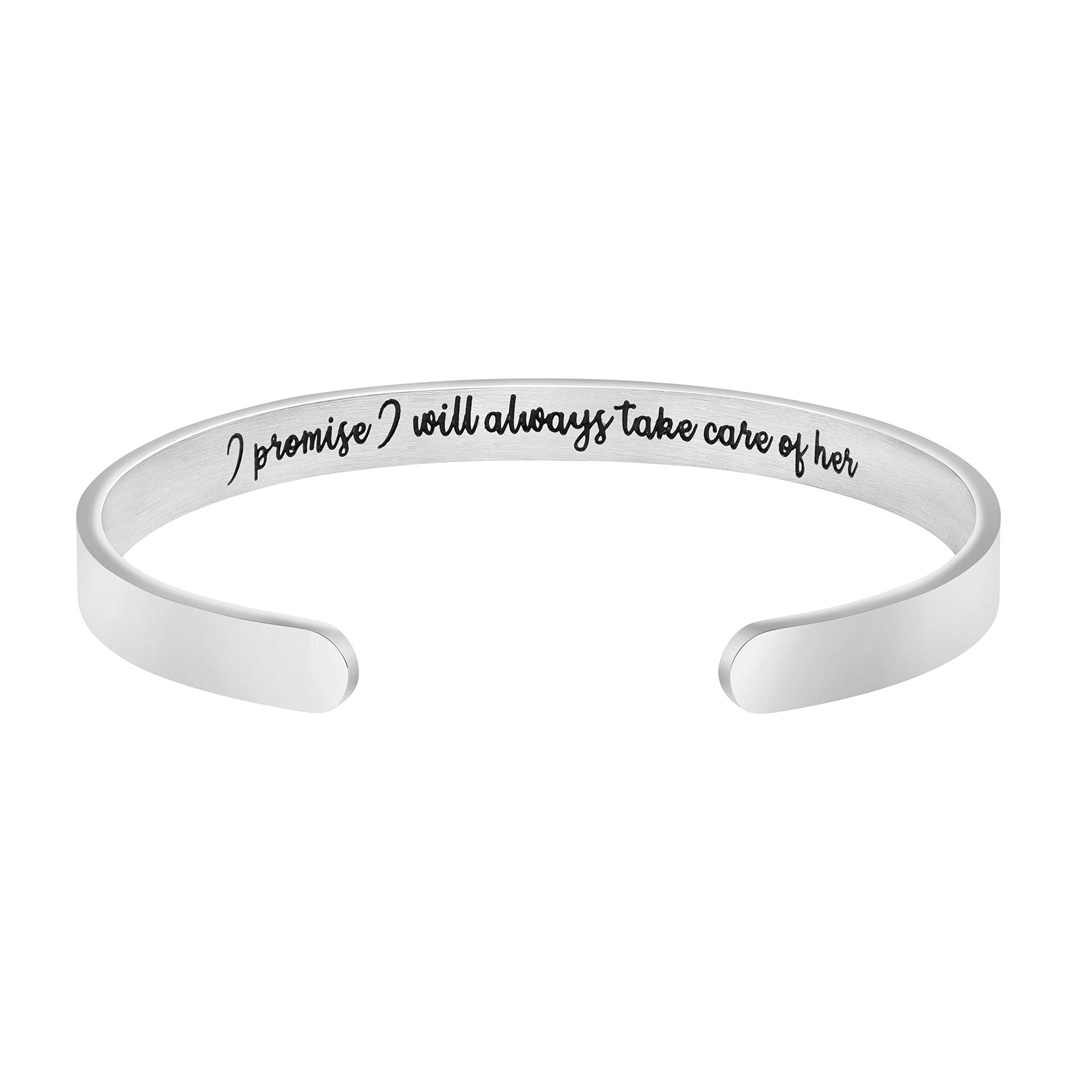 I Will Always Take Care of Her Cuff Bracelet Weeding Day Gift for Mother in Law Mom
