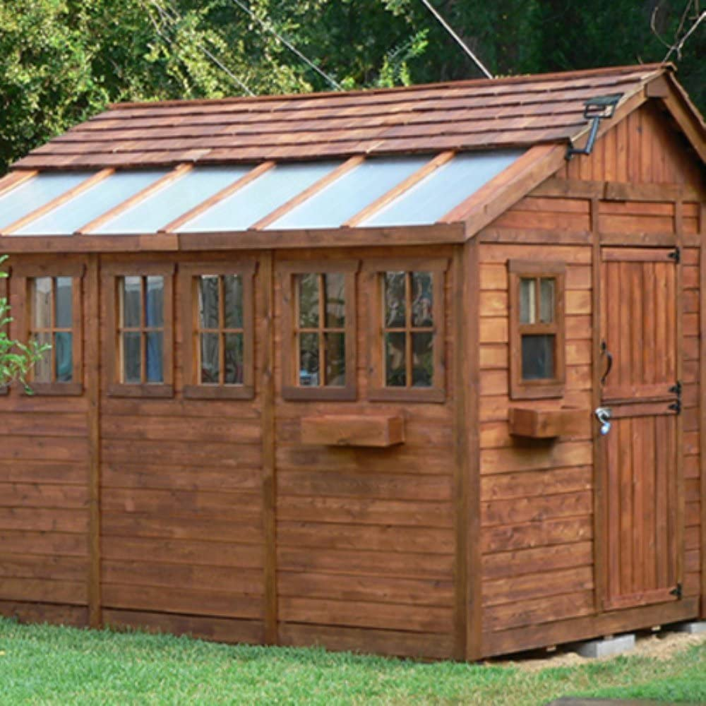 MCombo Outdoor Storage Cabinet Tool Shed Wooden Garden Shed Organizer Wooden Lockers with Fir Wood 70 Beige