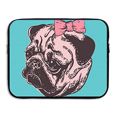 Blue Background With The Cute Pug And Its Pink Buckle Adorable Animal Design Pet Print Laptop Bag Tablet Case Shockproof Spill-Resistant Waterproof 15 Inch