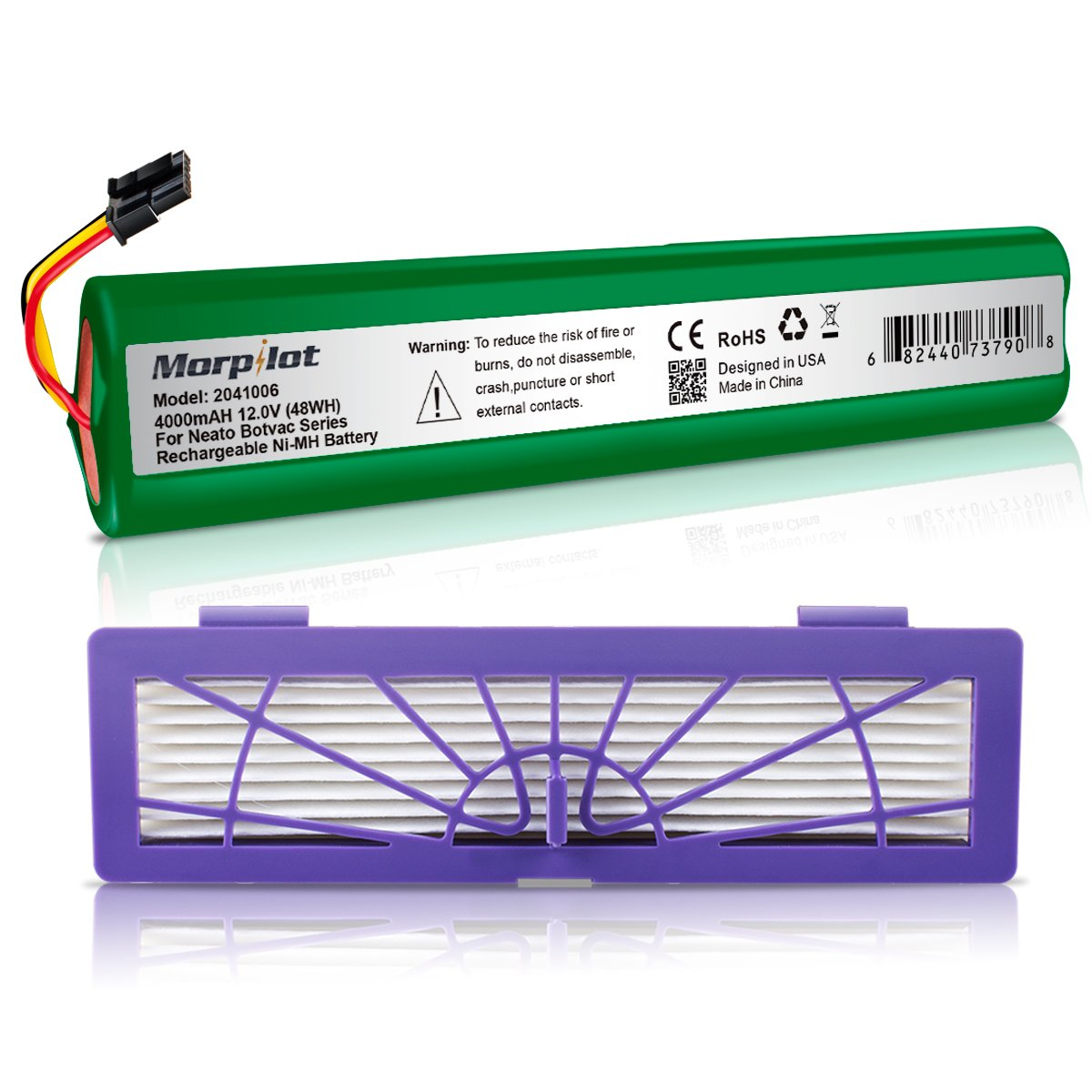 Morpilot 4000mAh Extended NiMh Battery with HEPA Fliter for Neato Botvac Series Robots Botvac 70e, 75, 80, 85 Robotic Vacuum 945-0129 945-0174(Not compatible with Neato D3 D5 D7)