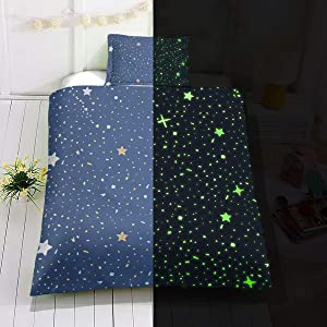 Kids Glow in The Dark Duvet Cover Full Blue Cartoon Stars Universe Bedding Set for Teen Boys Girls Toddler Bed Comforter Cover Child Starry Sky Theme Decor Bedspreads with Zipper,No Comforter Sheet