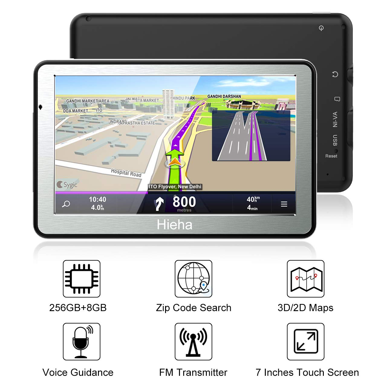 Hieha 7 Inches Navigation System for Car Truck RV Vehicles with Pre-Loaded US CA MX Maps, 8GB 256Mb Touch Screen GPS Navigation Device with Car Bracket Holder, Lifetime Free Map Updates