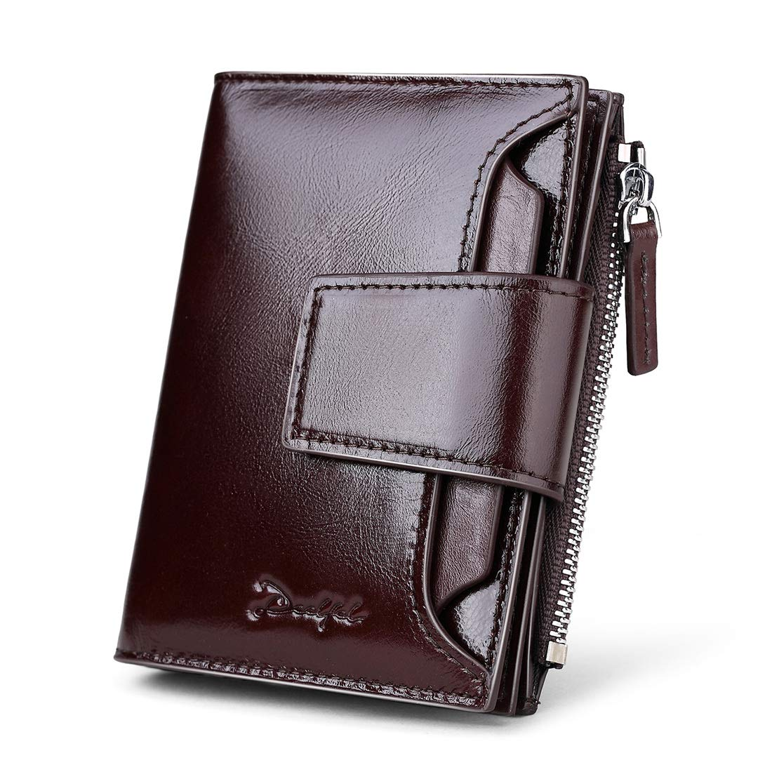 DEELFEL Men & Women RFID Blocking Wallet Small Vintage Crazy Horse Leather Short Purse Bifold black