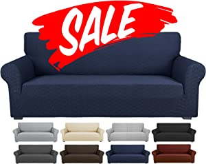 YEMYHOM Stretch Sofa Slipcover Latest Letter Design 1 Piece Couch Cover for 3 Cushion Couch Thick Fitted Sofa Cover for Living Room Non Slip Furniture Protector with Foam Rods (Sofa, Sapphire Blue)