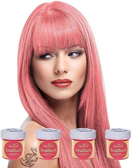 4 x La Riche Directions Semi-Permanent Hair Colour Dye Box Of Four-Pastel Pink by La Riche