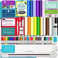 Silhouette Cameo 3 White Bluetooth Starter Bundle with 26 Oracal Vinyl Sheets, Transfer Paper, Guides, Class, Designs, 24 Sketch Pens and More