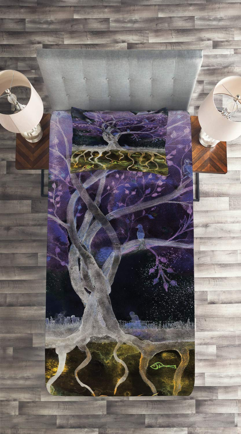Multicolor bedcen/_13474/_queen 3 Piece Decorative Quilted Bedspread Set with 2 Pillow Shams Psychedelic Magical Mysterious Tree at Night with Birds and Fishes Home Art Ambesonne Tree of Life Coverlet Set Queen Size