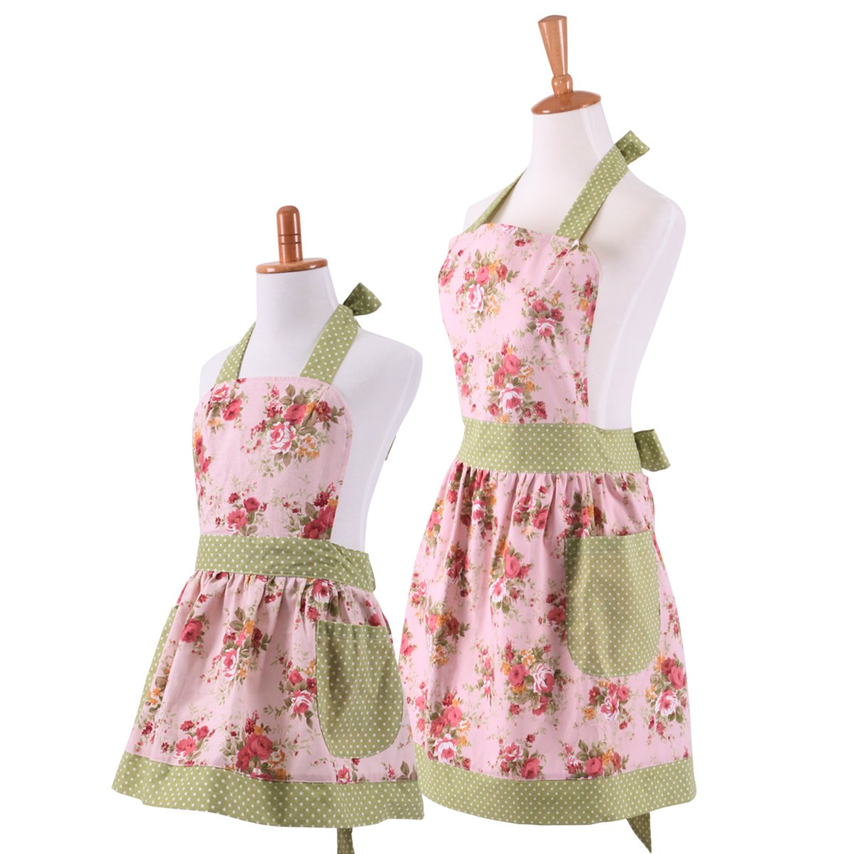 1950s House Dresses and Aprons History Neoviva Cotton Canvas Kitchen Apron for Women and Kid Girl Floral Pink  AT vintagedancer.com