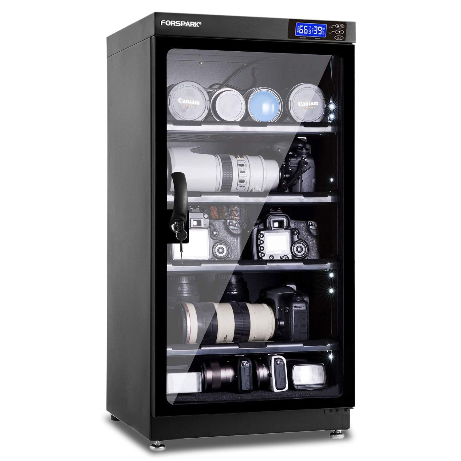 FORSPARK Camera Dehumidifying Dry Cabinet 8W 100L - Noiseless and Energy Saving - for Camera Lens and Electronic Equipment Storage by FORSPARK