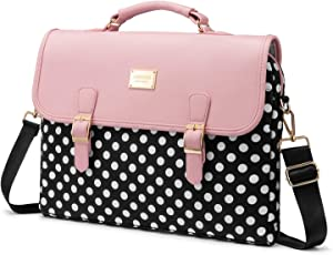 LOVEVOOK Computer Bag Laptop Bag for Women Cute Laptop Sleeve Case for Work College, Slim-Pink-Polka, 15.6-Inch