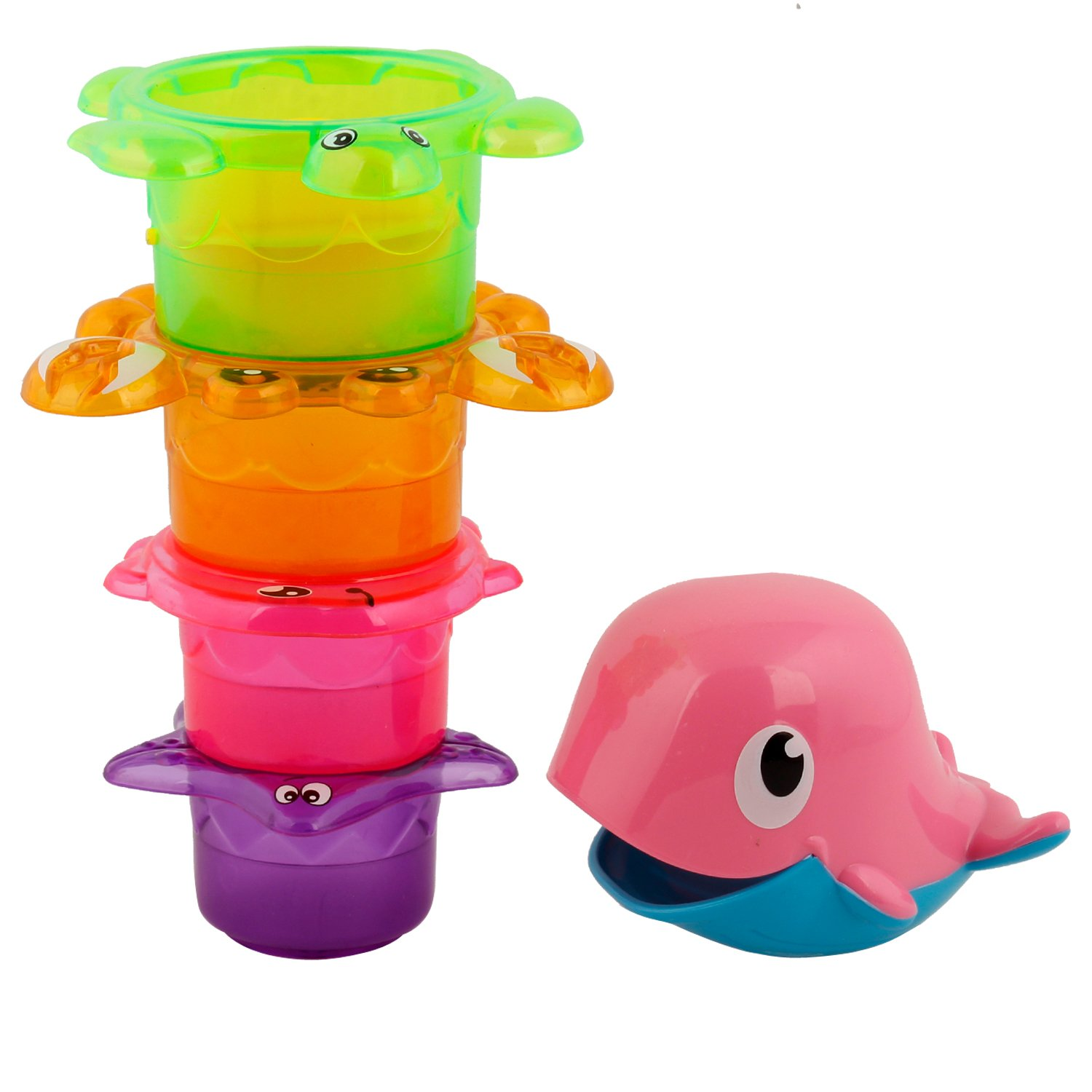 Marine Piles Cup Baby Bath Toy for Kids – Set of 5