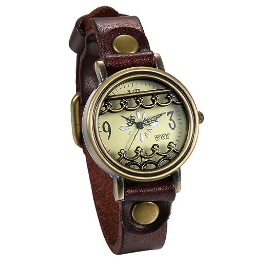 JewelryWe Reloj de Pulsera para Mujer Correa de Cuero Estilo Retro Vintage Gótico Reloj Bronce de