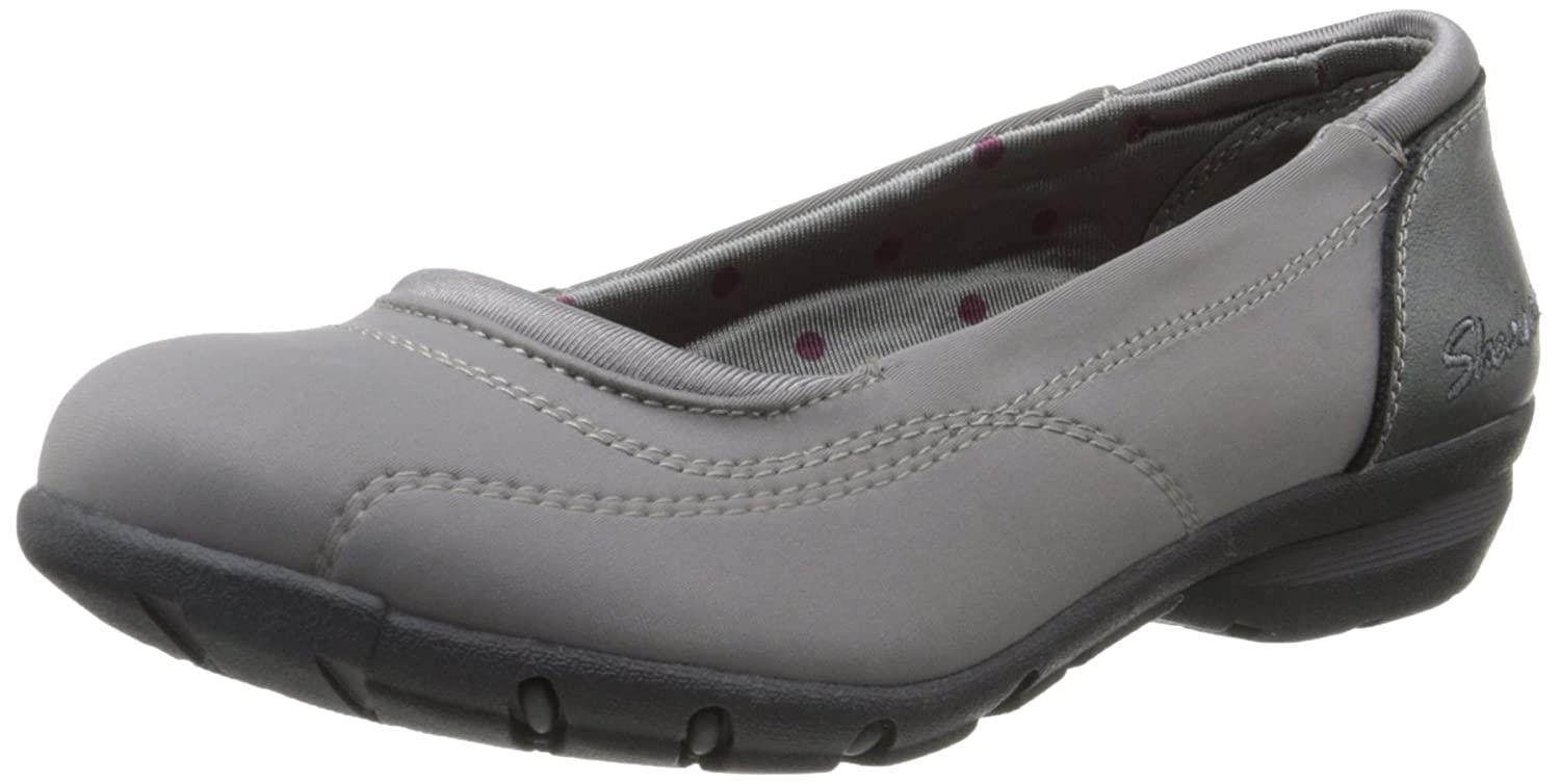 Skechers Women's Career First Impression Ballet Flat B00YGDDYL4 7 B(M) US|Charcoal Leather