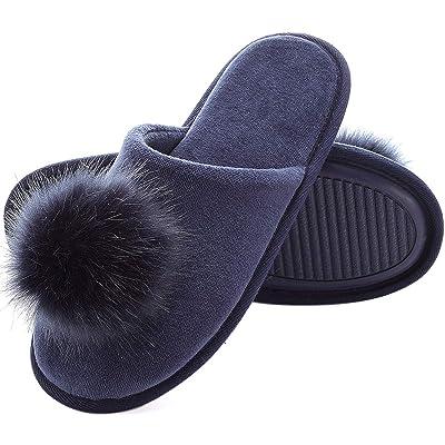 Women's Slippers Comfort Cozy Velvet Memory Foam Pom Slippers Cute Puffer Ball Home Slippers: Clothing