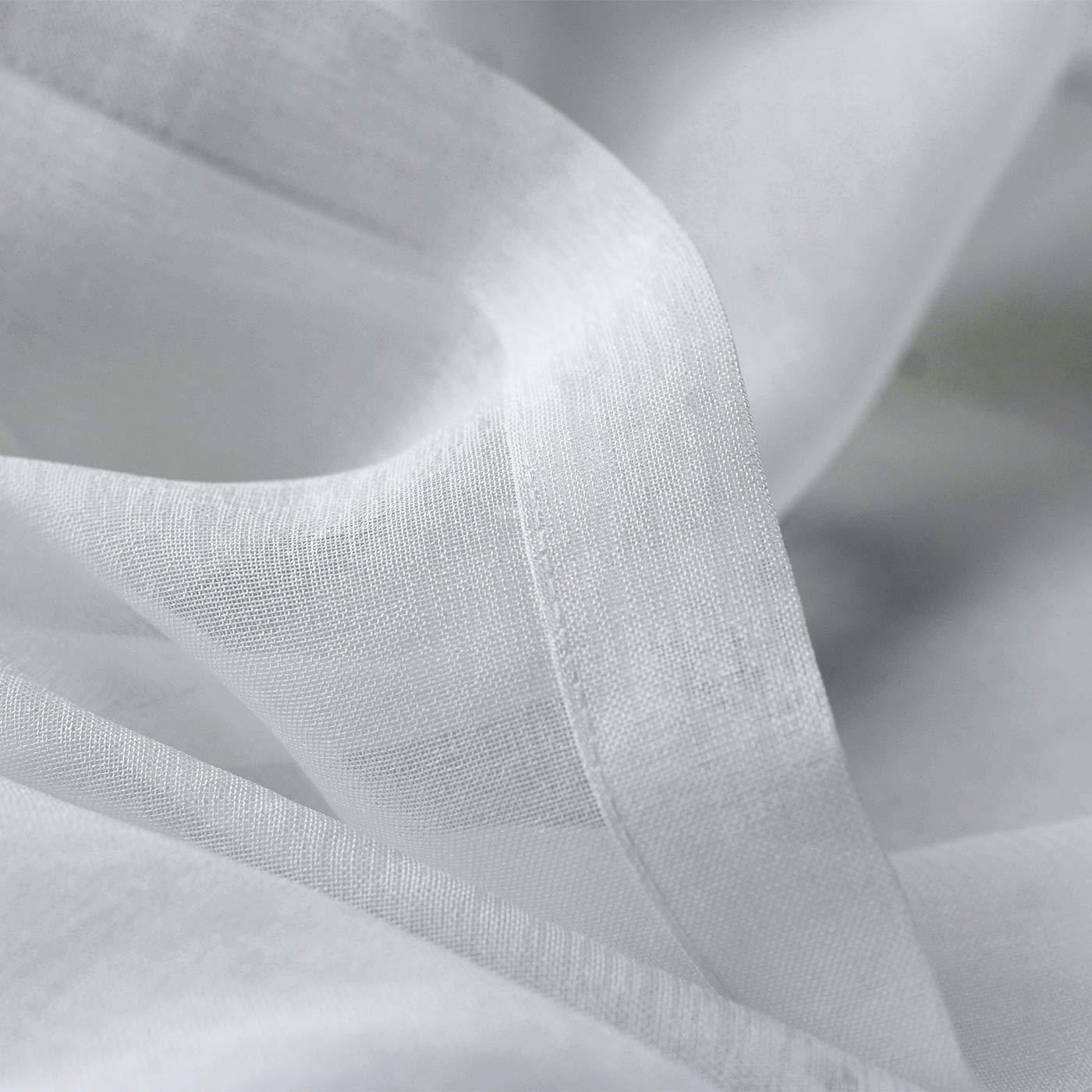 per Soggiorno e Camera da Letto 140 x 245 cm Bianco Decorazioni Bianco con Occhielli Singinglory Tenda Trasparente con fermatenda finestre Effetto Lino Set da 2 Pezzi Voile