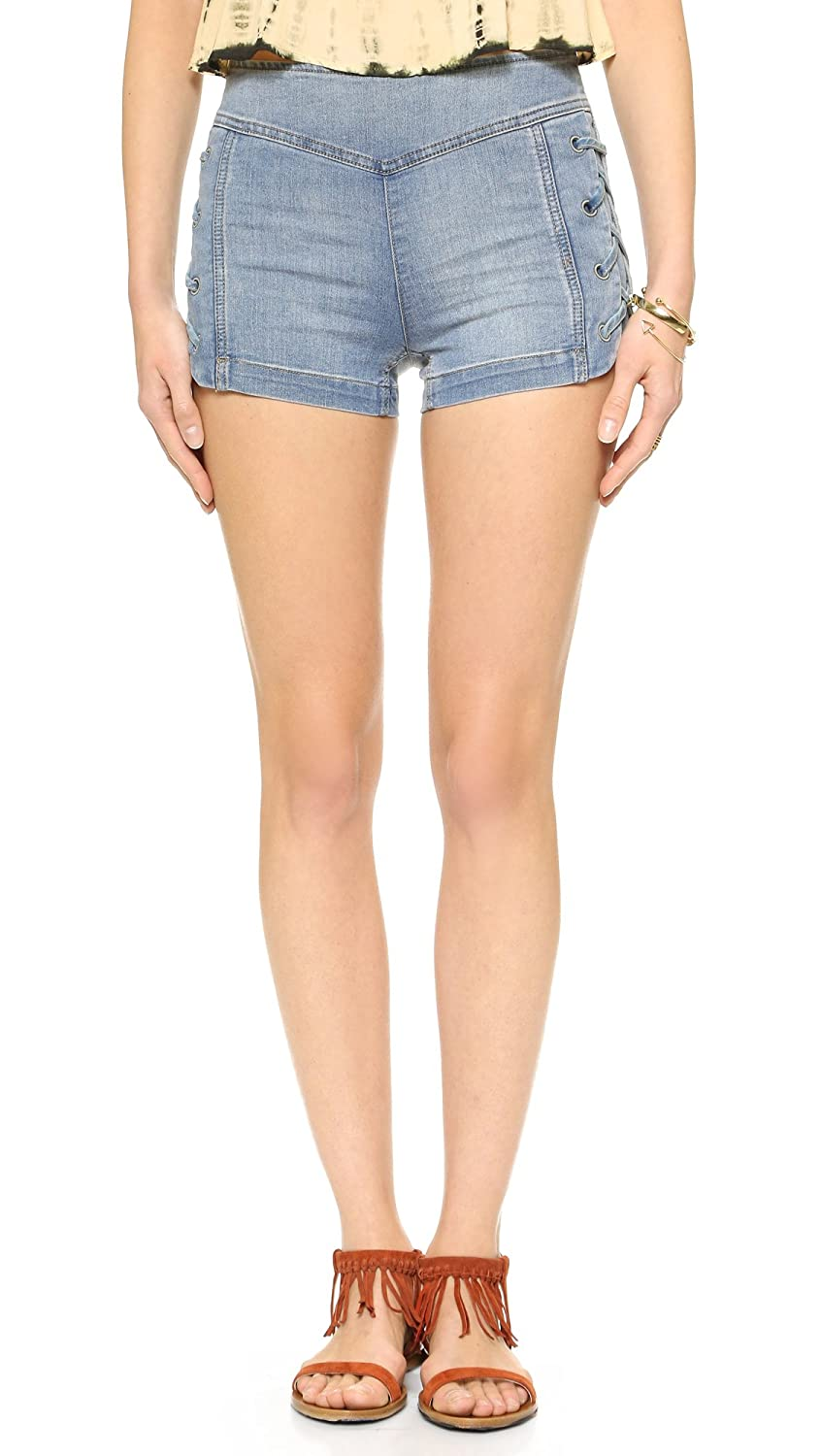 Free People Women's High Rise Lace-Up Denim Jean Shorts Dylan Blue Size 31