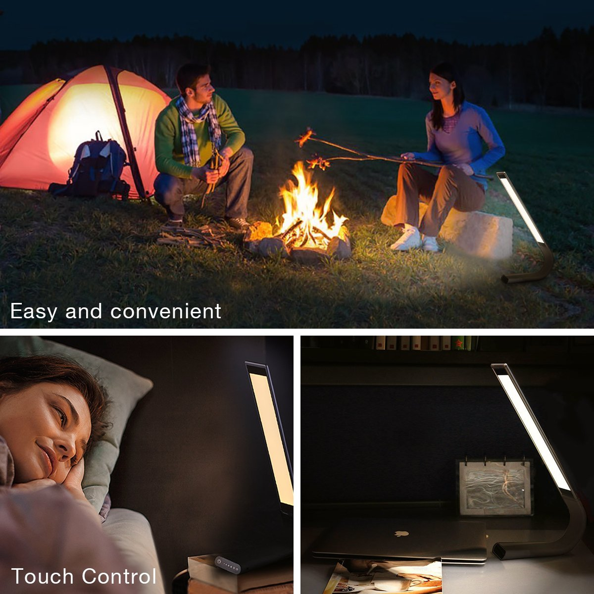 Poweradd Glowing Eye-caring Touch Sensitive LED Desk Lamp, 3 Light Modes(3100K 4200K 5400K) with 6 Dimmable Levels Sensor Control Night Light, 360 Degree Foldable Table Light - Black