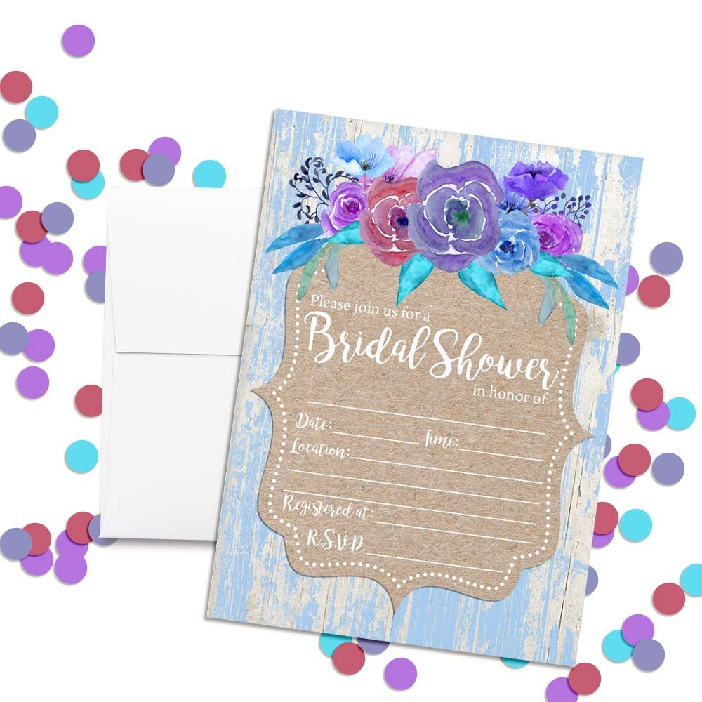 20 5x7 Fill in Cards with Twenty White Envelopes by AmandaCreation Rustic Watercolor Floral Bridal Shower Invitations with Blue Wood Background