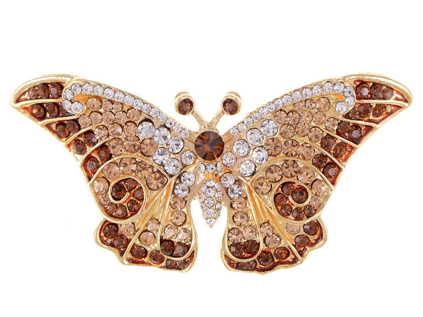 Empress Monarch Winged Butterfly Swarovski Crystal Rhinestones Brooch Pin - Purple, Green, Brown, Blue, Pink, or Black! Alilang 6B0024COFFBA
