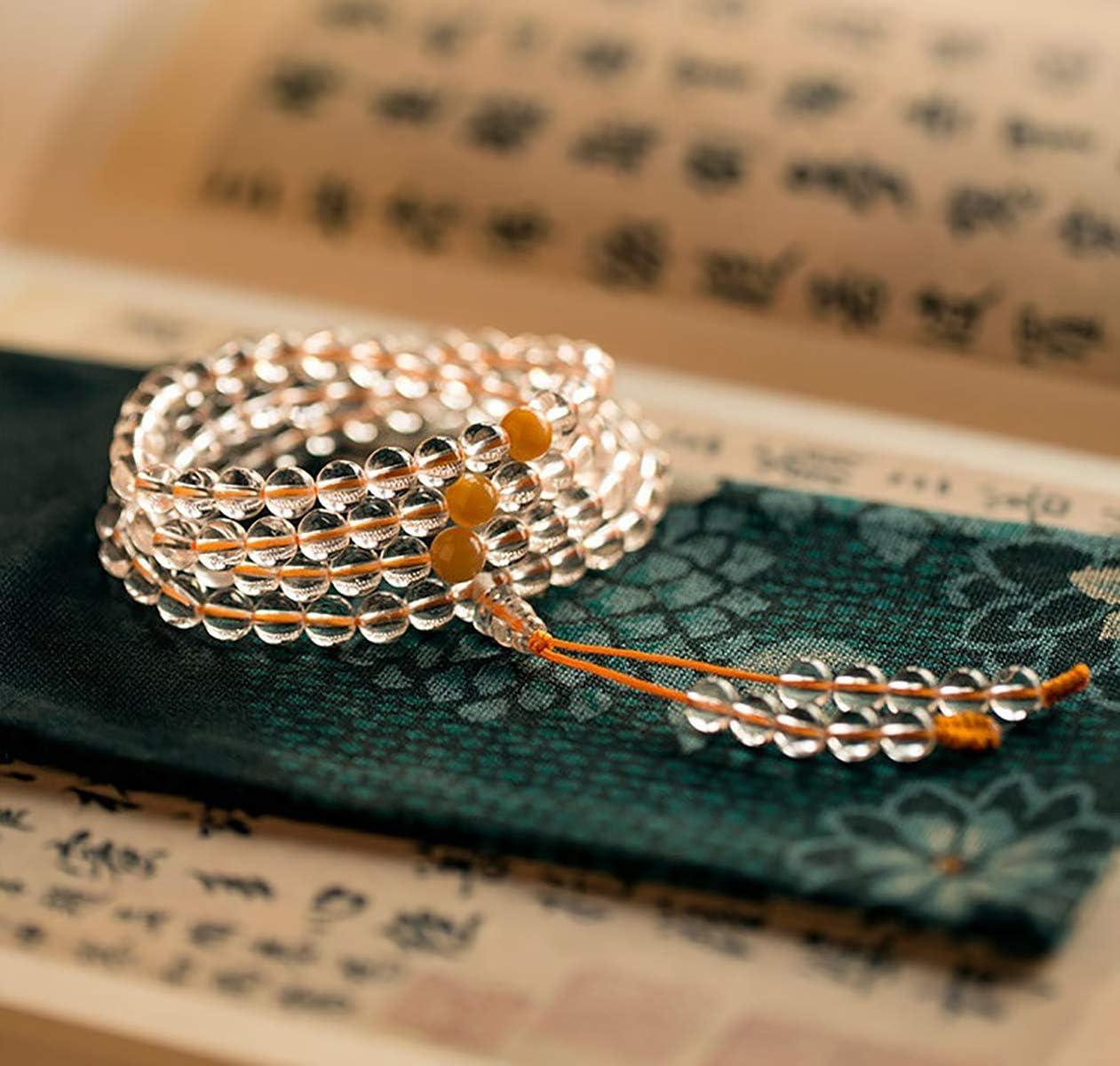 La oración de Buda Mala de los Granos Pulsera 7A Cristal Blanco 108 Cuentas de Jade Imperial del Ornamento del Grano de la Piedra Preciosa de curación Estiramiento del Brazalete,8mm