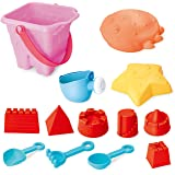 Kids Sand Toys Set for Building on Beach or in Sandbox: Buckets, Tools, Molds, Toy Boat-13 Pieces