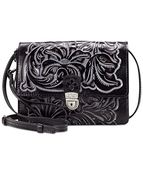 51ce423bb14f Women s Patricia Nash Leather Tooled Lanza Crossbody Bag Black Tuscan Silver   Amazon.ca  Shoes   Handbags