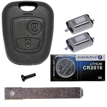 Auto Llave Mando a distancia 1 x Carcasa + 1 x en blanco VA2 + 2 x mikrotaster + 1 x CR2016 batería para Citroen/Peugeot/Toyota