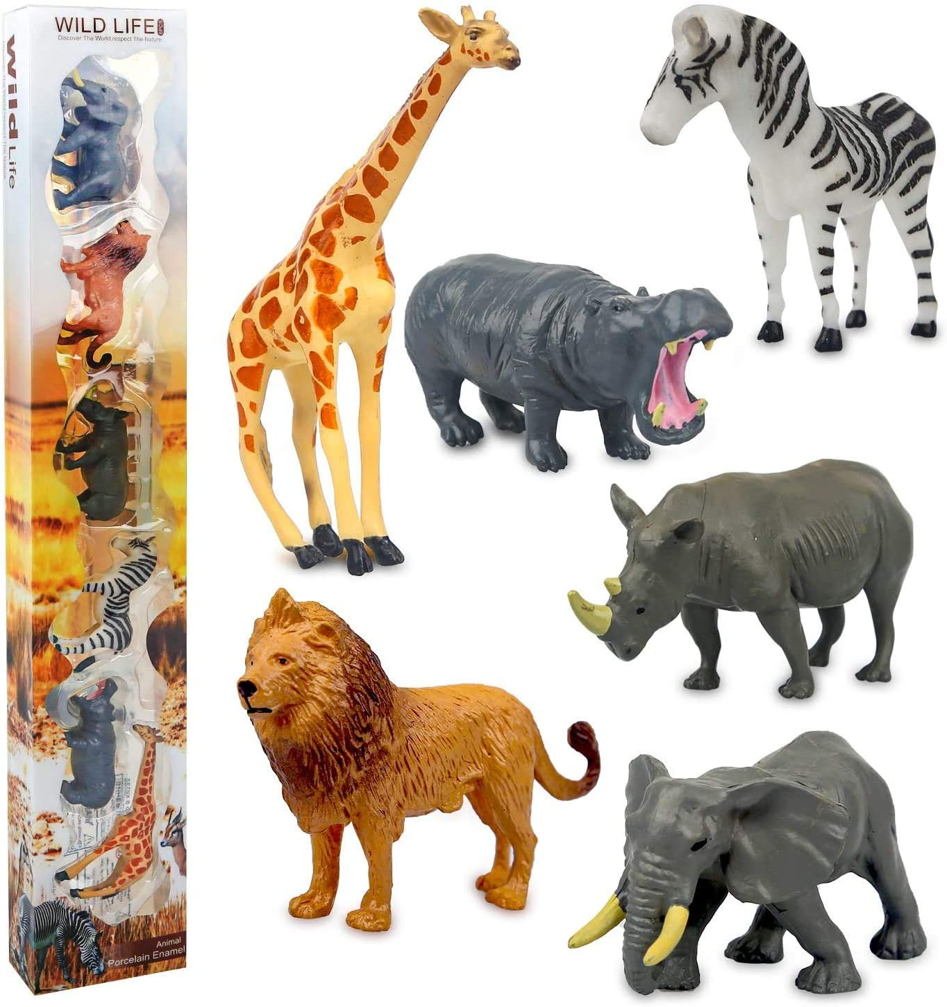 Safari Animal Toys Realistic Mini Wild Animal Figurines Sets, Party Cake Topper and Decorations for Boys Toddlers