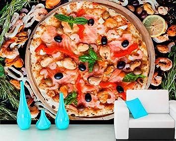 BZDHWWH Comida Rápida Pizza Camarones Comida Oliva Papel Tapiz 3D ...