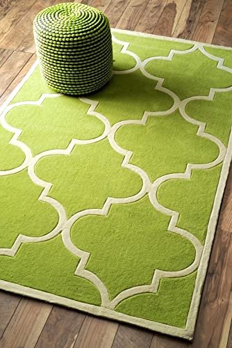 nuLOOM Cine Collection Contemporary Fez Hand Made Trellis Area Rug, 3-Feet 6-Inch by 5-Feet 6-Inch, Green