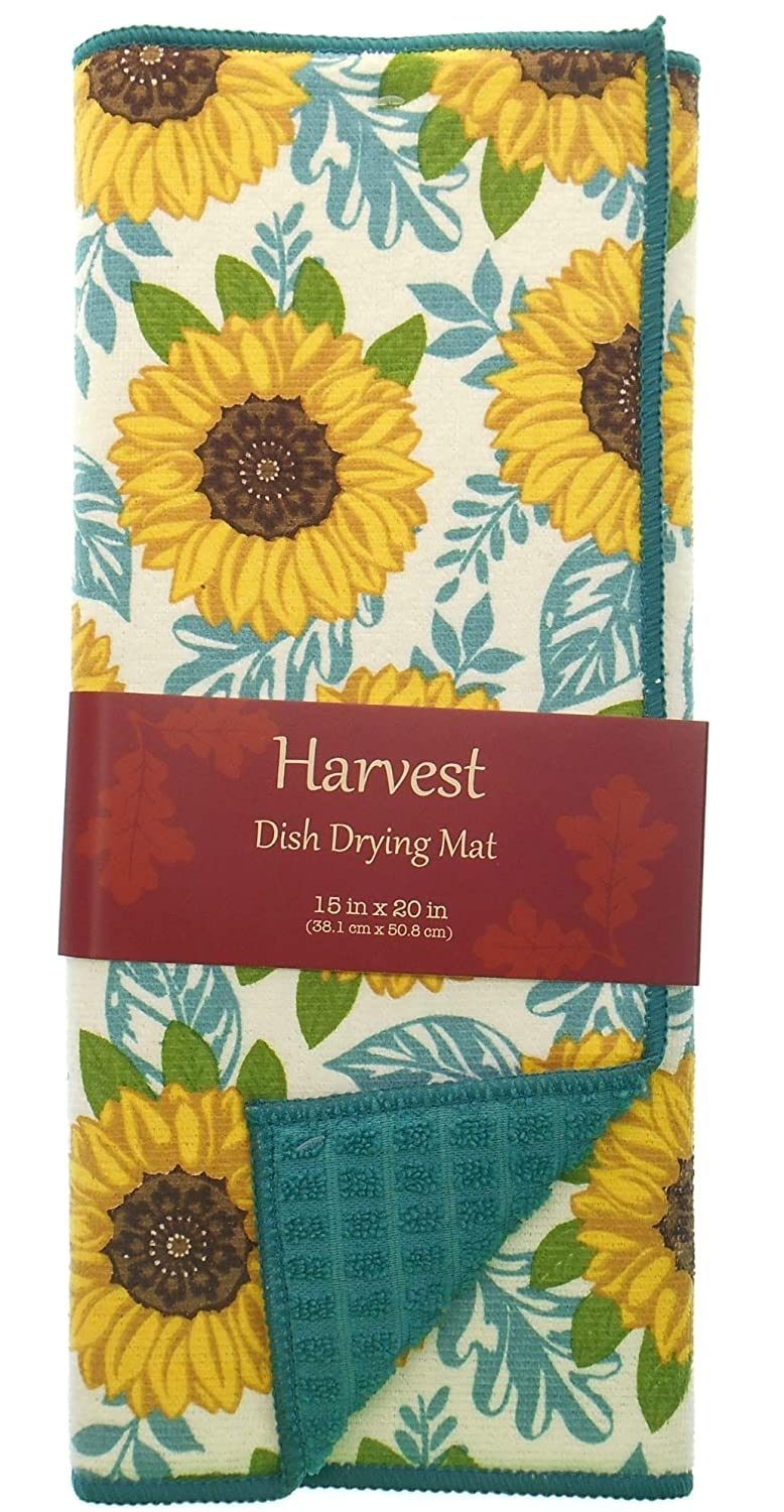 Reversible Sunflower with Teal Accents Dish Drying Mat 15