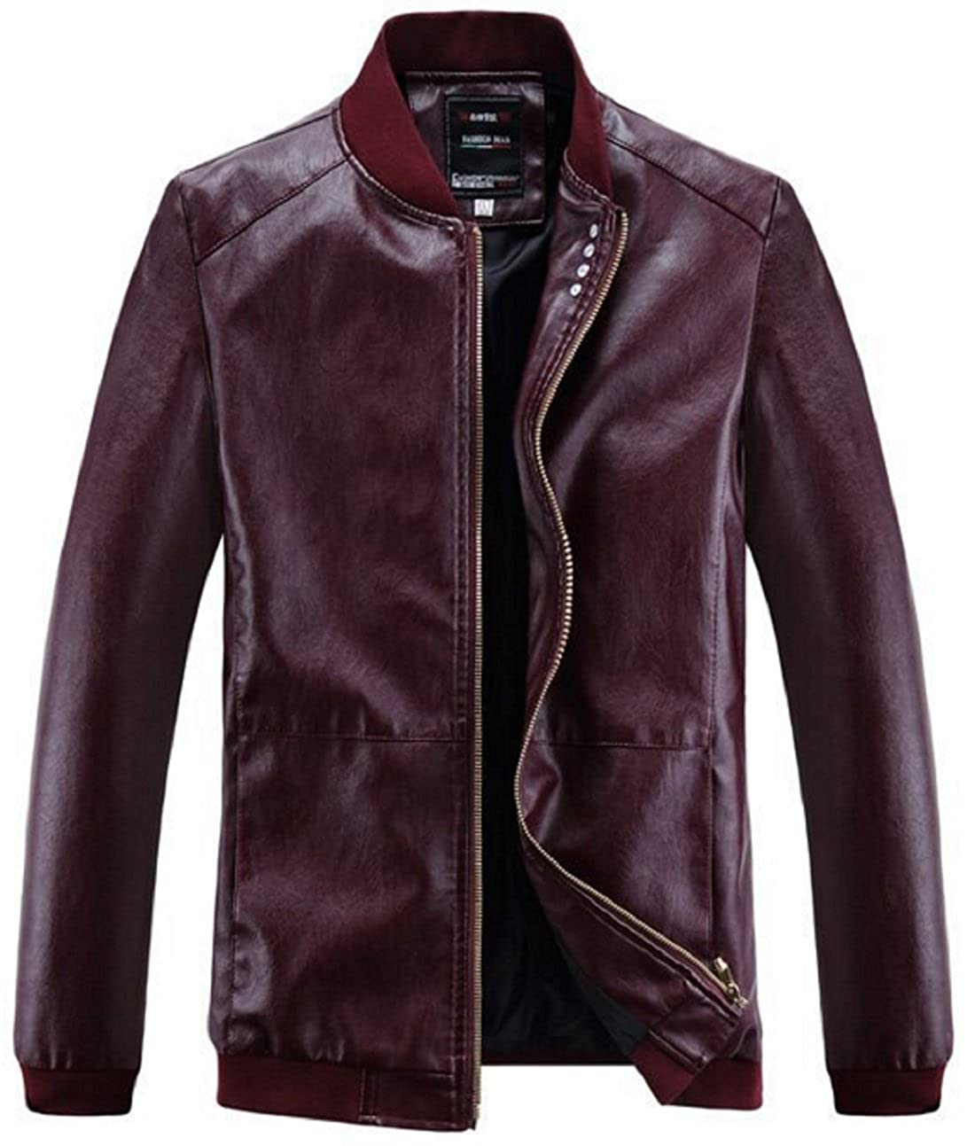 Olrek Men's Fashion Leather Jacket trp859