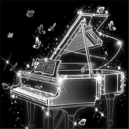 Home//Office//Hotel//Bathroom Decor Wall Art Kids /& Friends Gifts 30 /× 40 cm Transparent Crystal Piano in The Dark 5D Embroidery Cross Stitch Craft Cinhent Diamond Painting