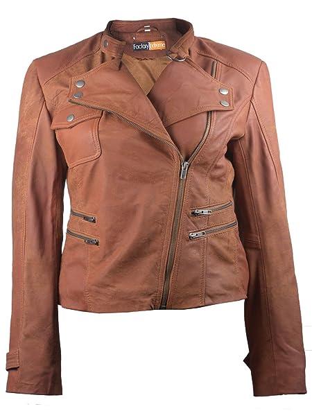 FactoryExtreme Aviator Moto Womens Tan or Black Biker Leather ...