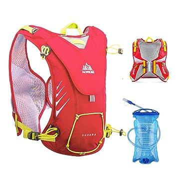 TRIWONDER Chaleco de hidratación Ligero 8L Superior Mochila para Trail Running Ciclismo Maratón para Mujer Hombre Niño (Rojo - con cámara de Agua de 1.5L): ...