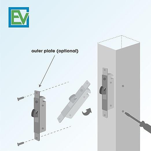 Cerradura de puerta corredera, llave 45°, 3-11/16 pulgadas. Pestillo de acero de repuesto para puertas de patio, por Essential Values.: Amazon.es: Bricolaje y herramientas