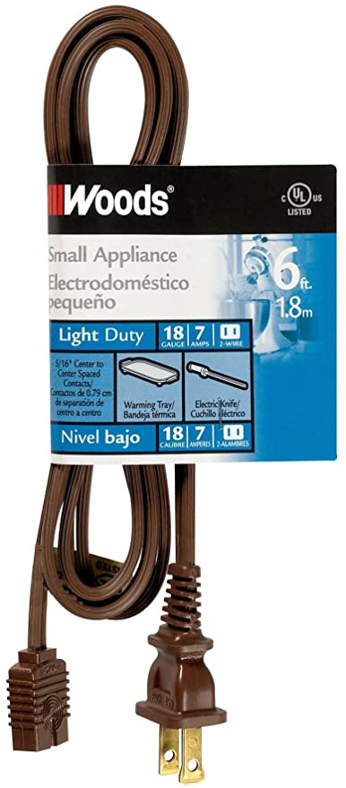 Woods 0295 HPN Mini Plug Appliance Cord, 6-Foot, Brown