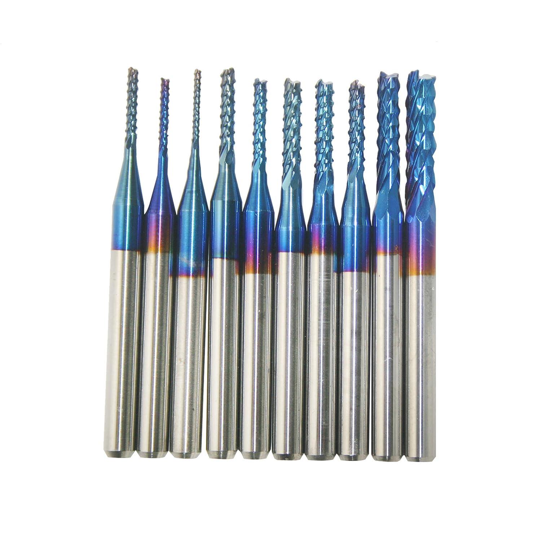 LUOSFUH 10PCS 0.8mm AlTiN Nano Blau beschichtetes Hartmetall-Schaftfr/äser Gravur Kantenschneider CNC Fr/äser Bits Schaftfr/äser F/ür PCB Maschine