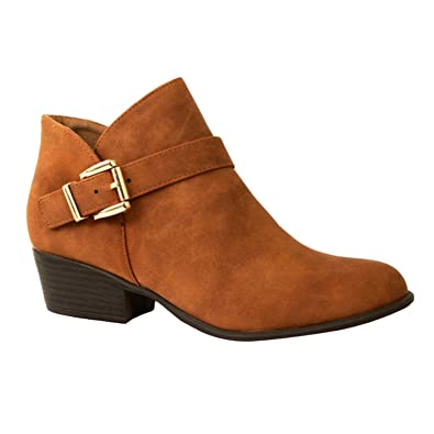 Womens Block Heel Buckle Closed Toe - Strappy Ankle Bootie Boots