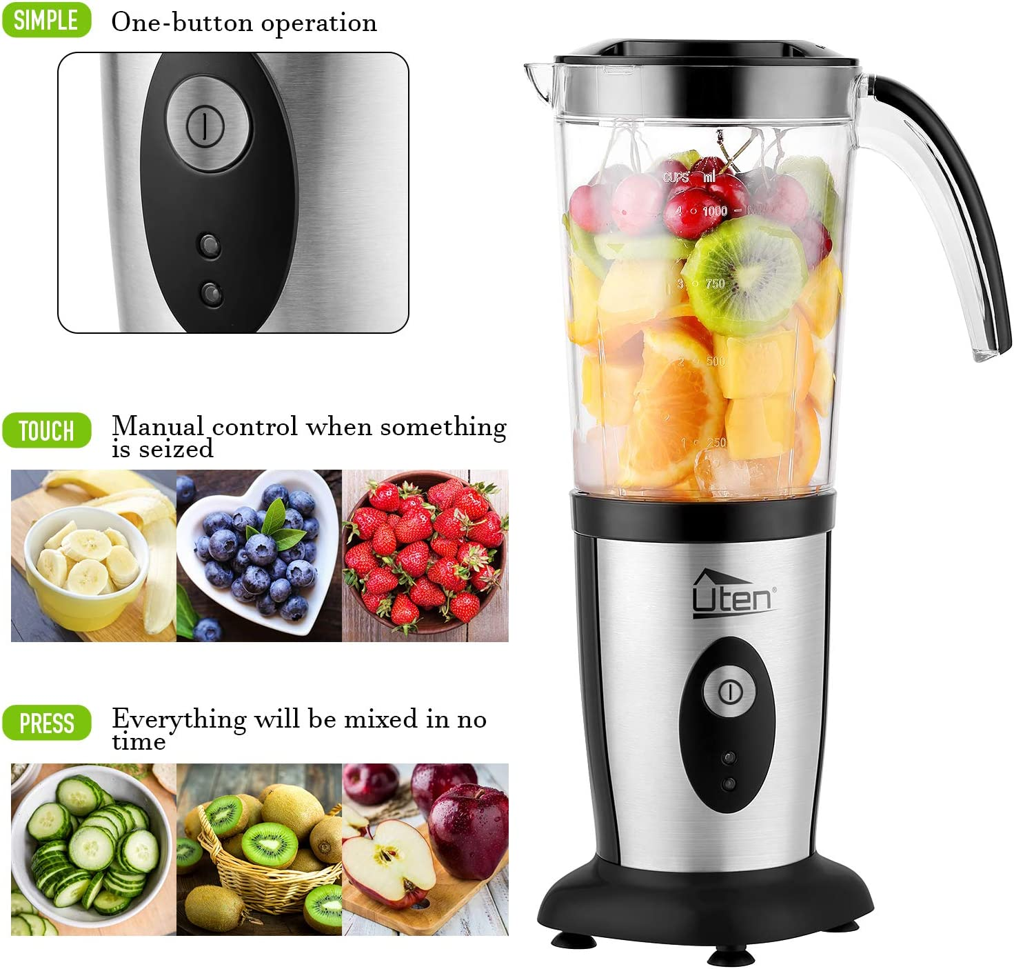 Uten Blender, Multi-Functional Smoothie Maker and Mixer for Juicers Fruit Vegetable 220W Automatic Blender Ice Crusher with 22,000 RPM/Min Silver-b