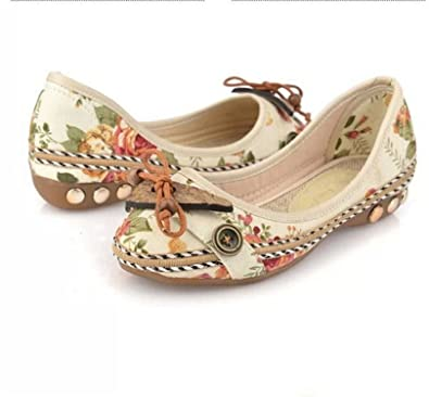 Amazon.com | Baqijian Casual Flat Shoes Women Flats Handmade Beaded Ankle Straps Loafers Zapatos Mujer Retro Ethnic Embroidered Shoes | Shoes