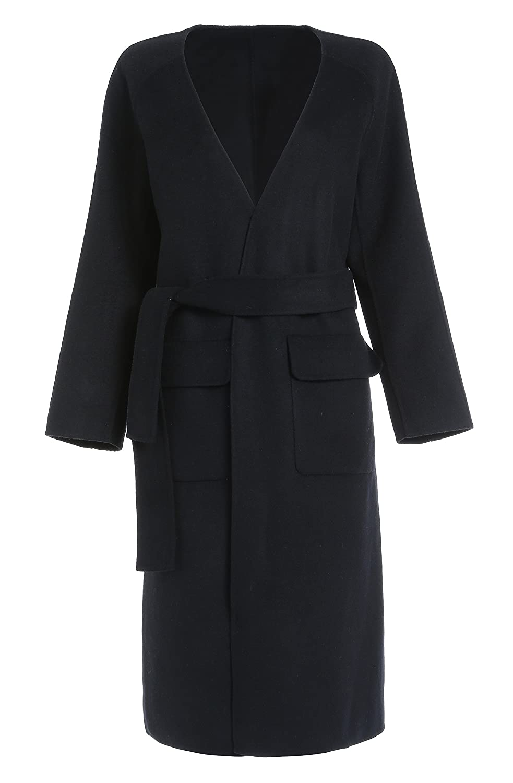 DP Mode lang Damen V-Neck Mantel 100% Wolle Schwarz mit Gurtel DP6201