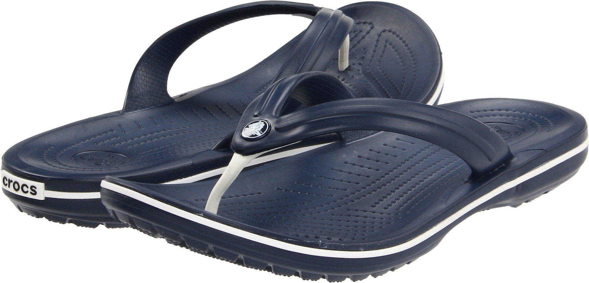 Crocs Unisex Crocband Flip-Flops Sandals, Navy, Size M10W12