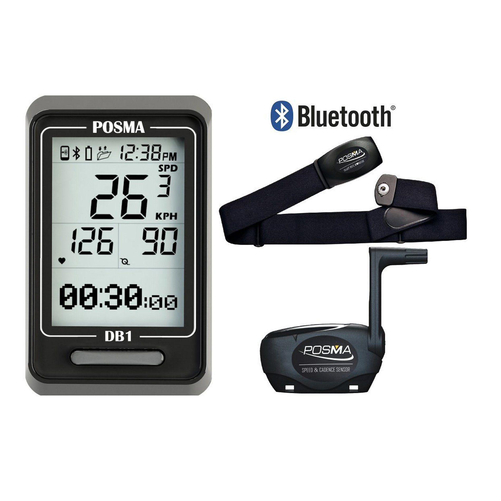 POSMA DB1 BLE4.0 Cycling Computer Speedometer Odometer with Heart Rate Monitor